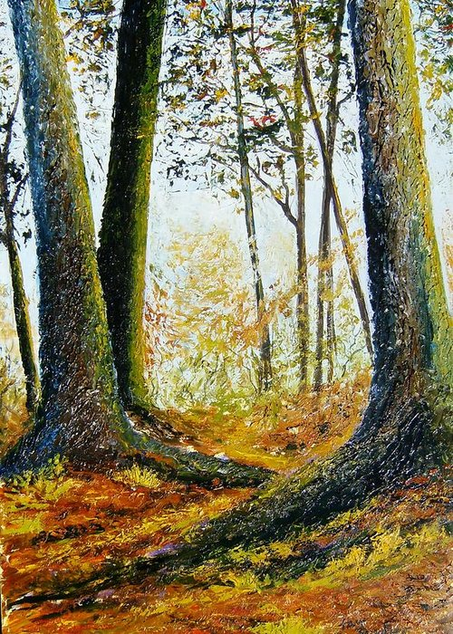 Landscape Greeting Card featuring the painting Walk In The Woods by Tami Booher