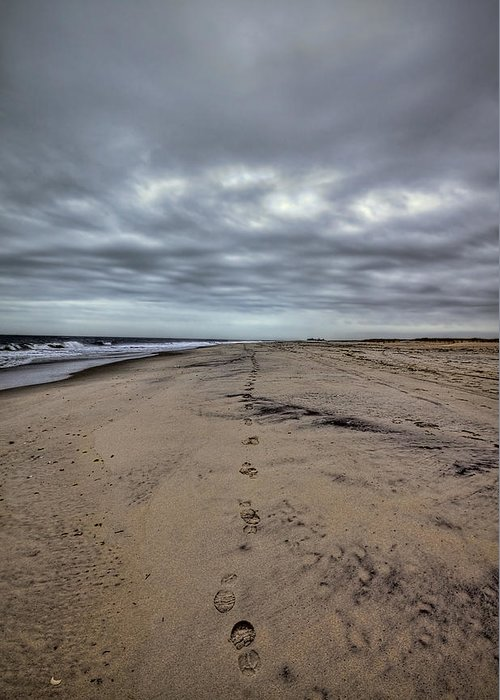 Beach Greeting Card featuring the photograph Walk The Line by Evelina Kremsdorf