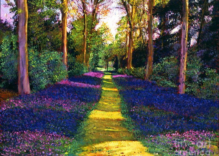 Trees Greeting Card featuring the painting Walk Through Blue by David Lloyd Glover