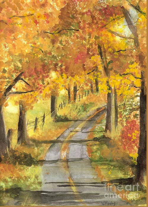 Fall Greeting Card featuring the painting Walkin by Vivian Mosley