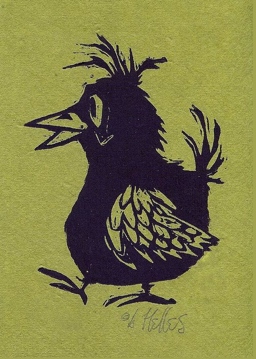 Bird Greeting Card featuring the painting Walking Bird With Green Background by Barry Nelles Art