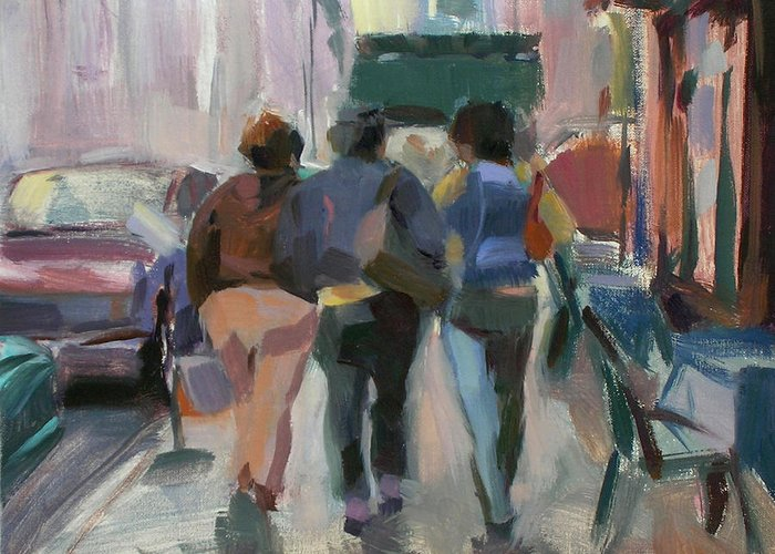 Figurative Greeting Card featuring the painting Walking In Chelsea by Merle Keller