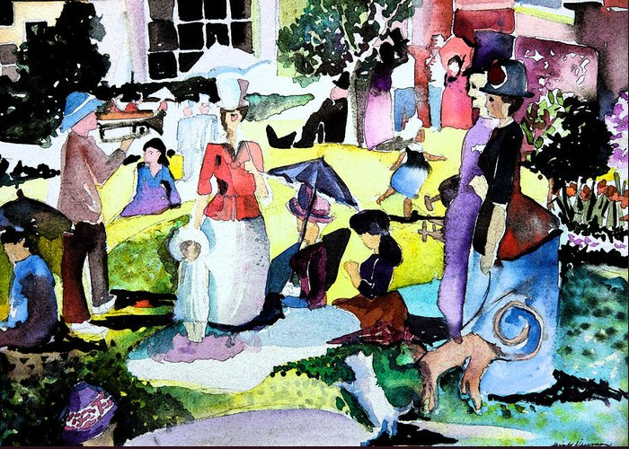 Park Greeting Card featuring the painting Walking In The Park by Mindy Newman