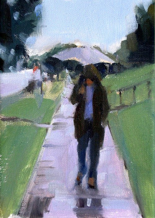 Figurative Greeting Card featuring the painting Walking In The Rain by Merle Keller