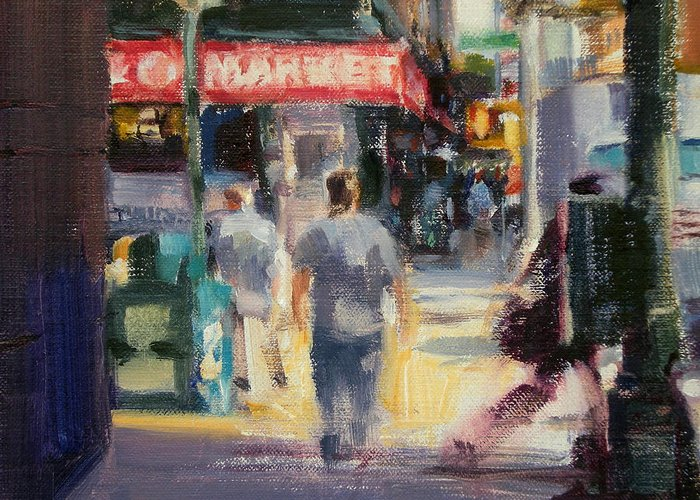 Cityscape Greeting Card featuring the painting Walking In The West Village by Merle Keller