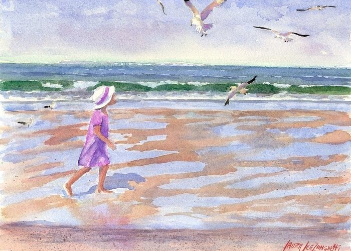 New England Greeting Card featuring the painting Walking The Cape by Laura Lee Zanghetti