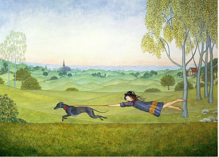 Child Greeting Card featuring the painting Walking The Dog by Ditz