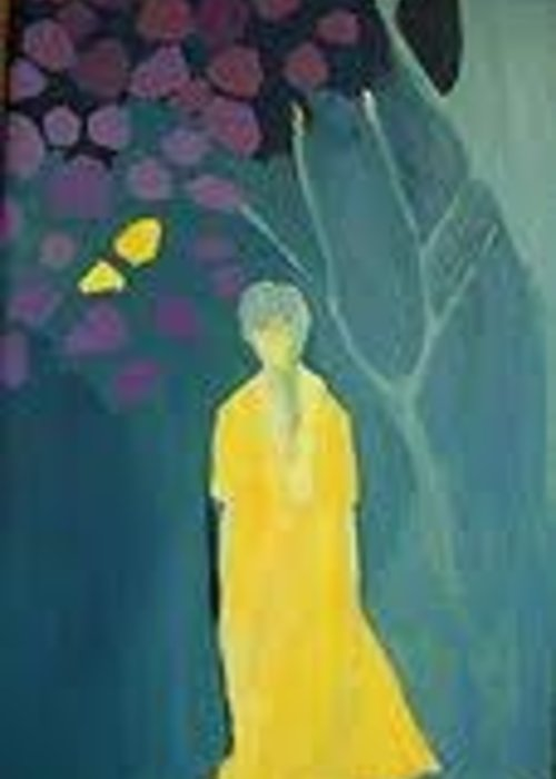 Path Greeting Card featuring the painting Walking The Grief Path by Judith Redman
