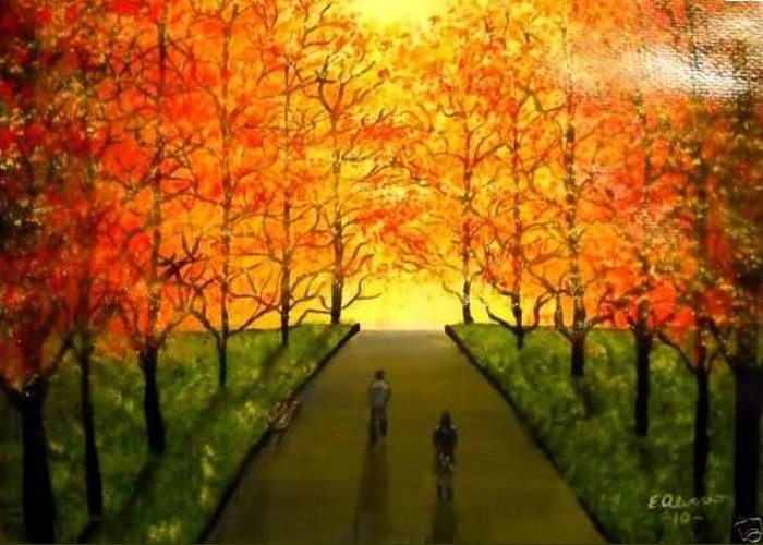 Walking Greeting Card featuring the painting Walking To The Light by Edwin Alverio