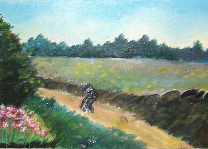 Art Greeting Card featuring the painting Walking To Town by Anne-Elizabeth Whiteway