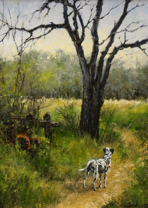 Painting Greeting Card featuring the painting Walking With Farley by Jim Gola