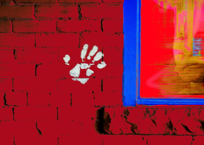 Greeting Card featuring the photograph Wall Hand Face by Frank Merrem