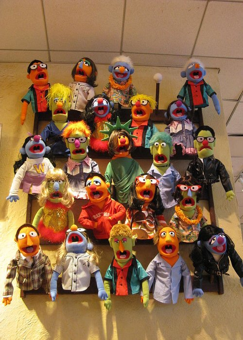 Fao Schwartz Greeting Card featuring the photograph Wall Of Muppets by Choi Ling Blakey