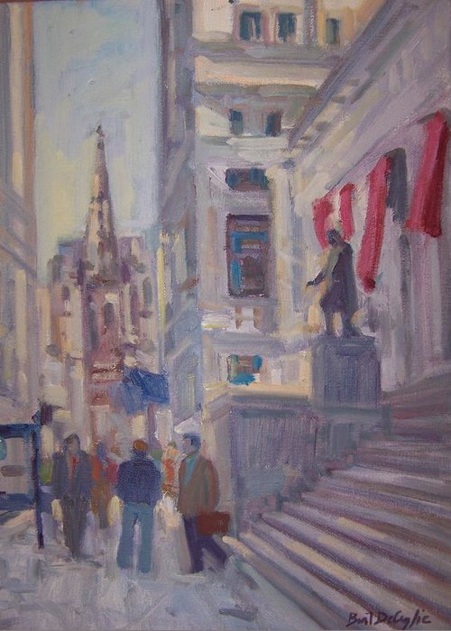 Street Scene Of Wall St.trinity Church Greeting Card featuring the painting Wall St. by Bart DeCeglie