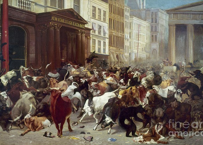 1879 Greeting Card featuring the photograph Wall Street Bears And Bulls by William H Beard