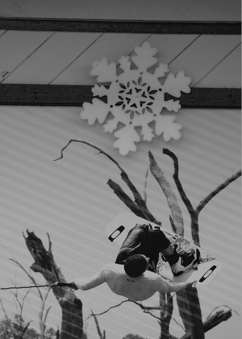 Snow Flake Greeting Card featuring the photograph Wall Surfing With A Snow Flake by Rob Hans