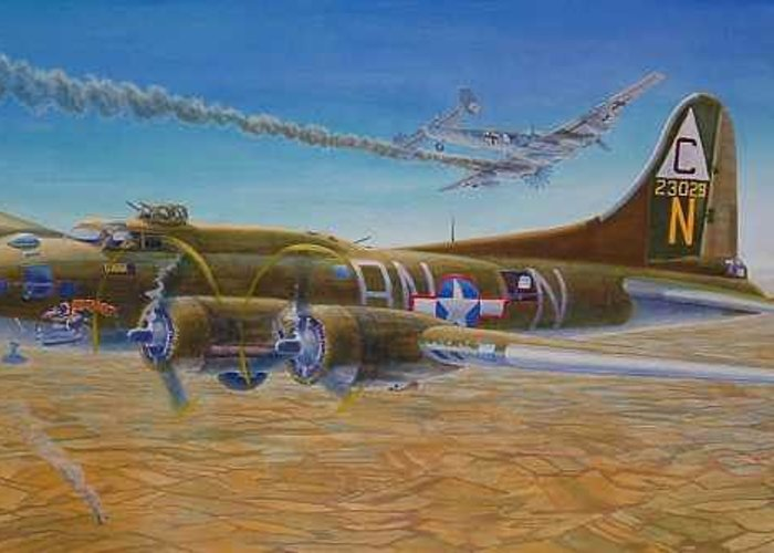 B-17 wallaroo Over Schwienfurt Greeting Card featuring the painting Wallaroo At Schwienfurt by Scott Robertson