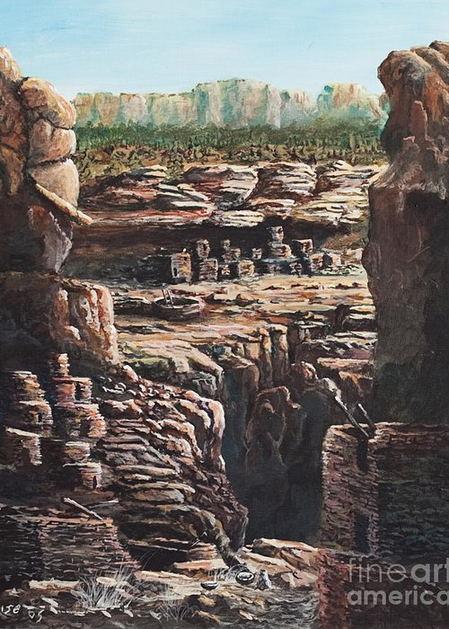 Anasazi Ruins Greeting Card featuring the painting Walnut Canyon by John Wise
