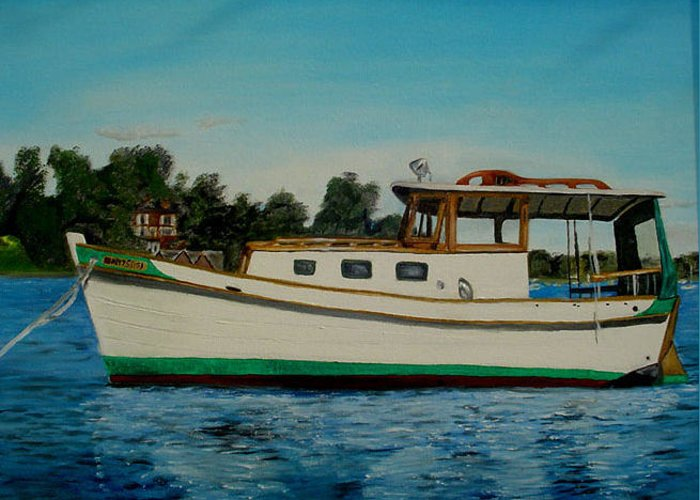 Wooden Boat Greeting Card featuring the painting Walrus by John Schuller
