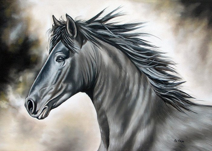 Horse Greeting Card featuring the painting Wanapun by Ilse Kleyn