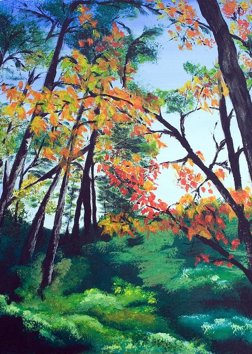Landscape Greeting Card featuring the painting Wandering Through The Woods by Monika Degan