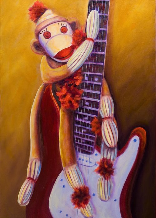Monkey Greeting Card featuring the painting Wanna Be A Rocker by Shannon Grissom