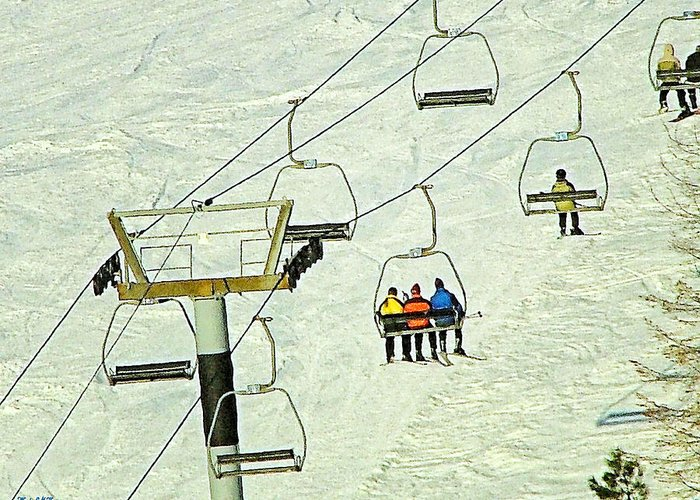 Ski Lift Canvas Prints Greeting Card featuring the photograph Wanna Lift by Wendy McKennon