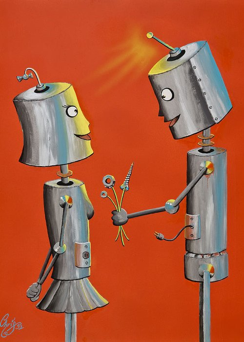 Robot Greeting Card featuring the painting Wanna Screw by Chris Fifty-one