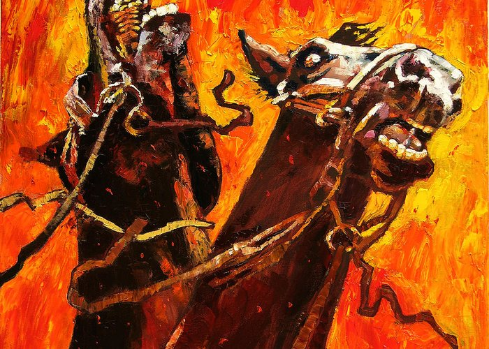 Horses Greeting Card featuring the painting War Horses by John Lautermilch