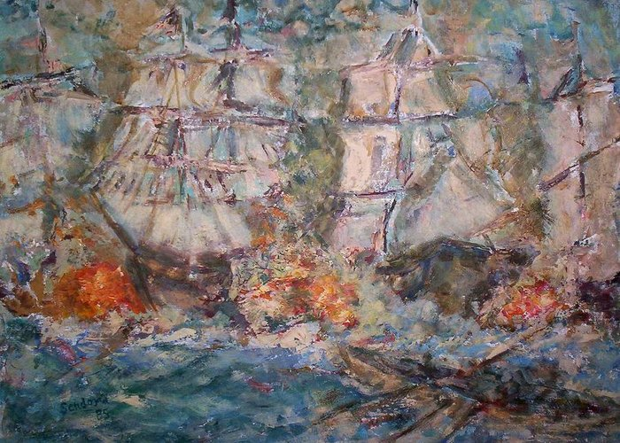 Seascape Greeting Card featuring the painting War Ships by Joseph Sandora Jr