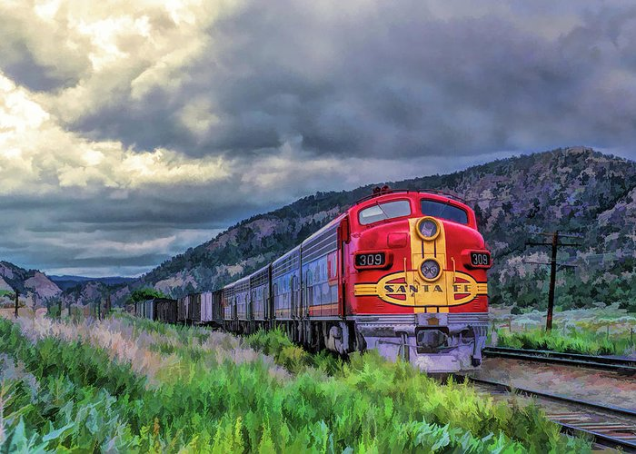Train Greeting Card featuring the painting Warbonnet F7 Santa Fe Locomotive by Christopher Arndt