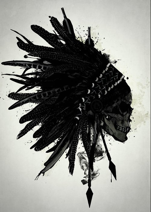 Indian Greeting Card featuring the digital art Warbonnet Skull by Nicklas Gustafsson