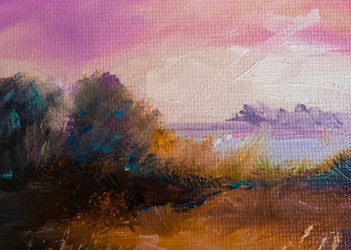 Landscape Greeting Card featuring the painting Warm Colorful Landscape by Michele Carter