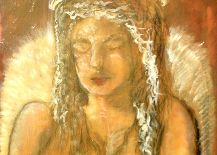 Angels Greeting Card featuring the painting Warm Dreams by J Bauer