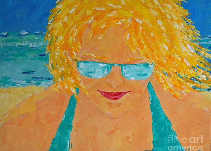 Beach Art Greeting Card featuring the painting Warm Summer Breeze by Art Mantia