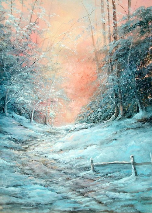 Winter Greeting Card featuring the painting Warm Winter Fantasy by Sally Seago