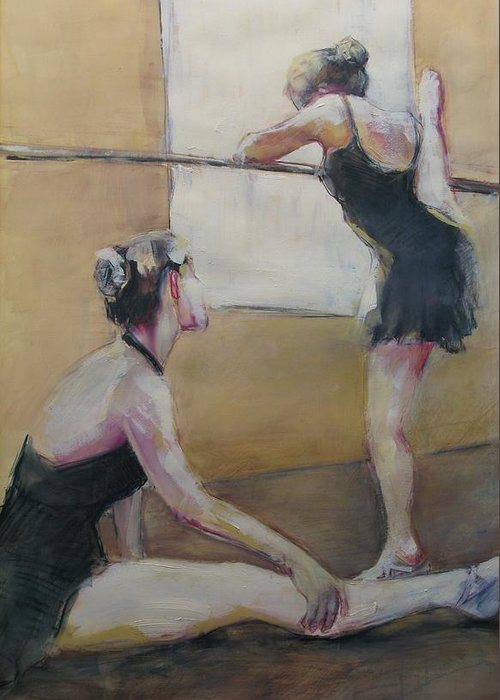 Ballet Dancers Greeting Card featuring the painting Warming Up by Michelle Winnie
