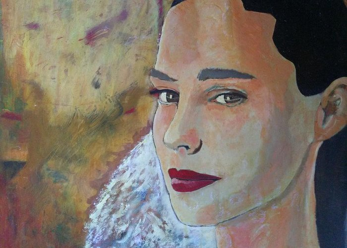 The Glow Of The Last Bit Of Light Fades She Turns To Look At Me And I Can Tell She Is At Peace. Greeting Card featuring the painting Warmth Of Heart by J Bauer
