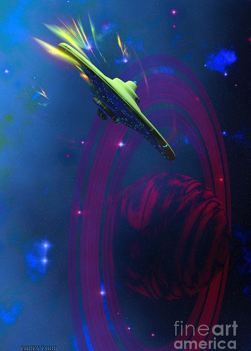 Space Art Greeting Card featuring the painting Warp Pulse by Corey Ford