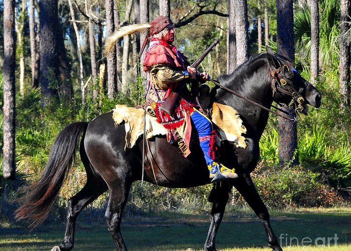 Seminole Indian Greeting Card featuring the photograph Warpath by David Lee Thompson