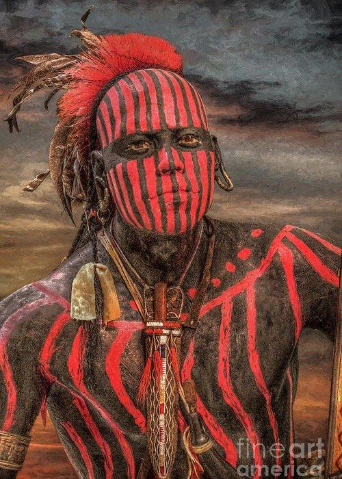 Warrior Greeting Card featuring the digital art Warpath Shawnee Indian by Randy Steele