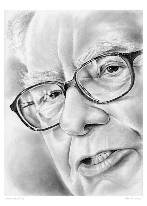 Warren Buffett Greeting Card featuring the drawing Warren Buffett by Greg Joens