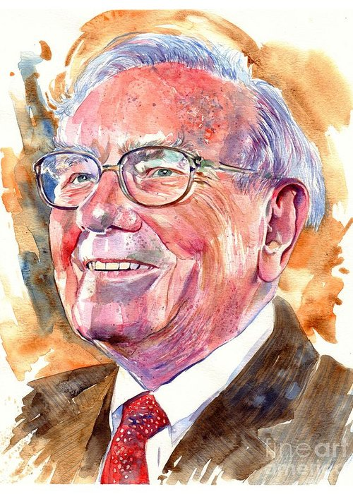 Warren Greeting Card featuring the painting Warren Buffett Painting by Suzann Sines
