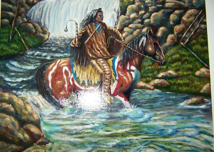 Indian Greeting Card featuring the painting Warrior by Charles Vaughn