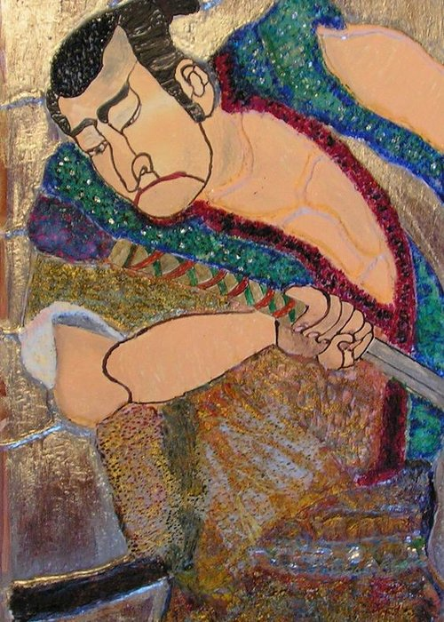 Figure Greeting Card featuring the mixed media Warrior by John Vandebrooke