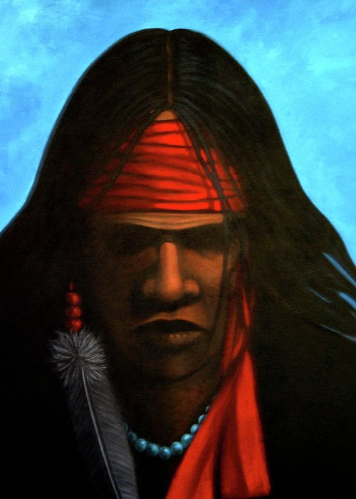Native American Greeting Card featuring the painting Warrior by Lance Headlee