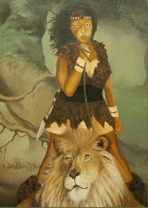 Portrait Greeting Card featuring the painting Warrior Princess by Angelo Thomas