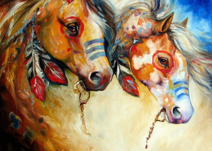 Painting Greeting Card featuring the painting Warrior Spirits Two by Marcia Baldwin