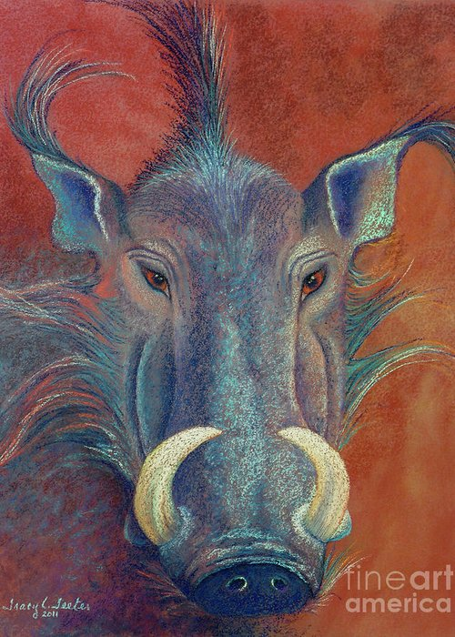 Wild Greeting Card featuring the pastel Warthog Defiance by Tracy L Teeter