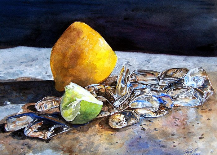 Lemon Greeting Card featuring the painting Was... by Leyla Munteanu